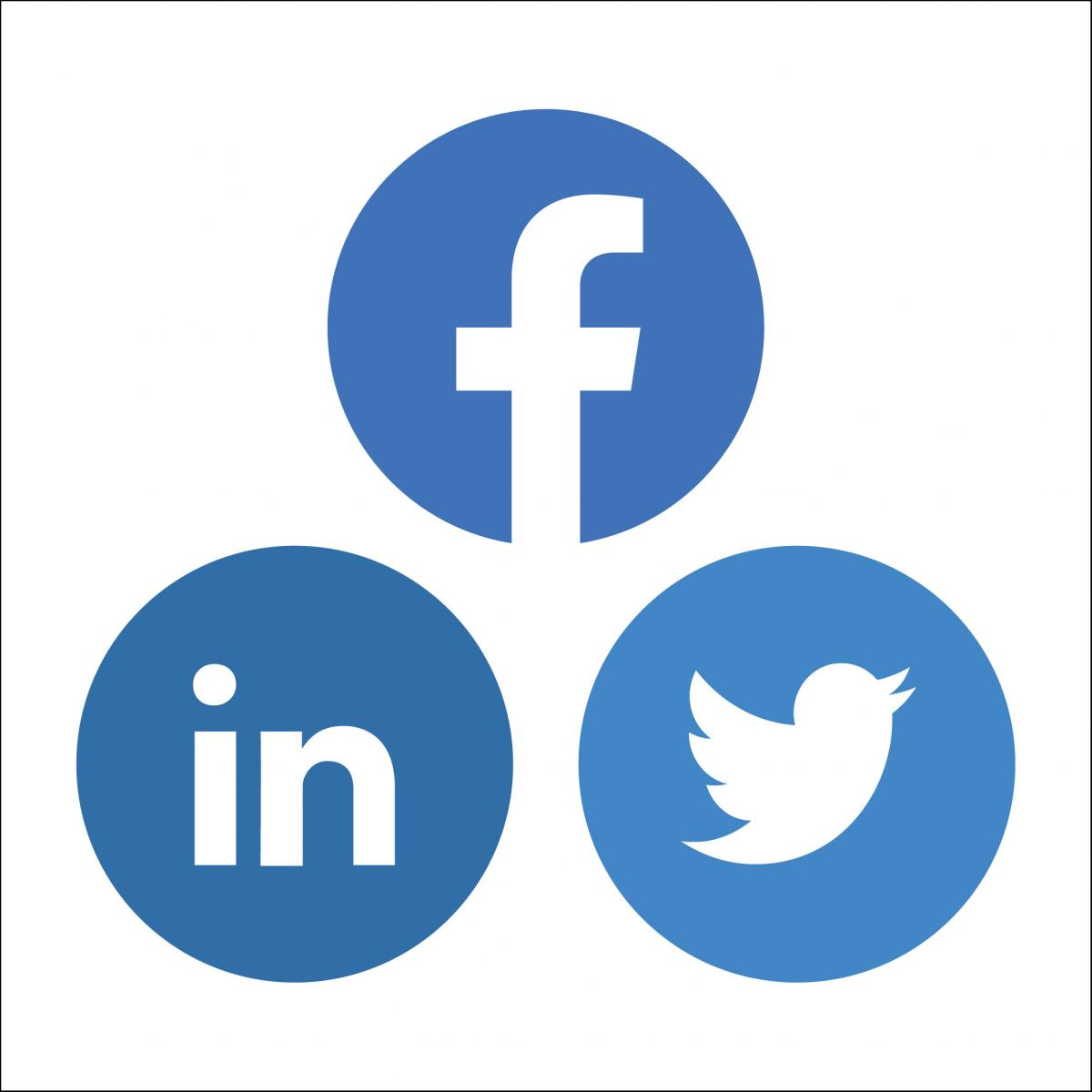 circular icons for Twitter, Facebook, and LinkedIn arranged to form a triangle